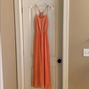 Bar III Coral maxi spaghetti strap pleated dress